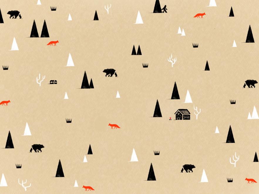 Woods forest bear fox animal procreate vector illustration