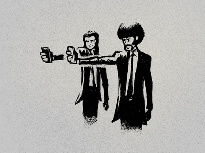 Pulpy negative space drawing hand drawn illustration procreate movie pulpfiction pulp fiction