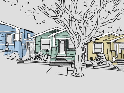 row of houses illustration bungalow style yellow green blue sketch drawing illustration