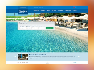 Palmalife Resort Hotel Web Site clean fullscreen book reservation ui flat web site hotel resort bodrum palmalife