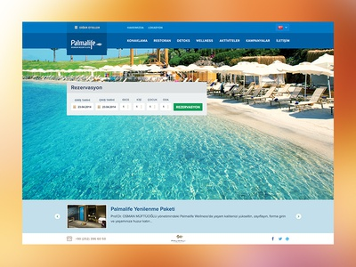 Palmalife Resort Hotel Web Site clean fullscreen book reservation ui flat web site hotel resort bodrum palmalife