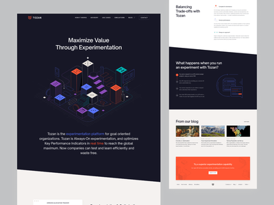 Tozan.ai clean illustration ab testing red clean website simple graphic design startup website startup modern webflow website home page minimal landing ab homepage uidaily ui uidesign