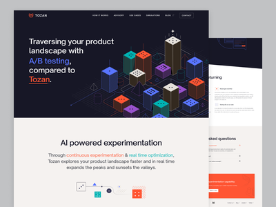 Tozan.ai - How It Works web blue red illustration website animation landing page startup website startup abtesting landing testing ab website design webflow how it works clean website dailyui design uidesign ui