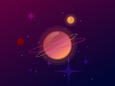 Space glossy gradient graphicdesign peach orange vector illustration shiny outerspace stars space art planets planet space
