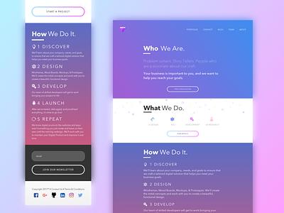 Amethyst Design responsive landing page design agency blue pink purple gradients design