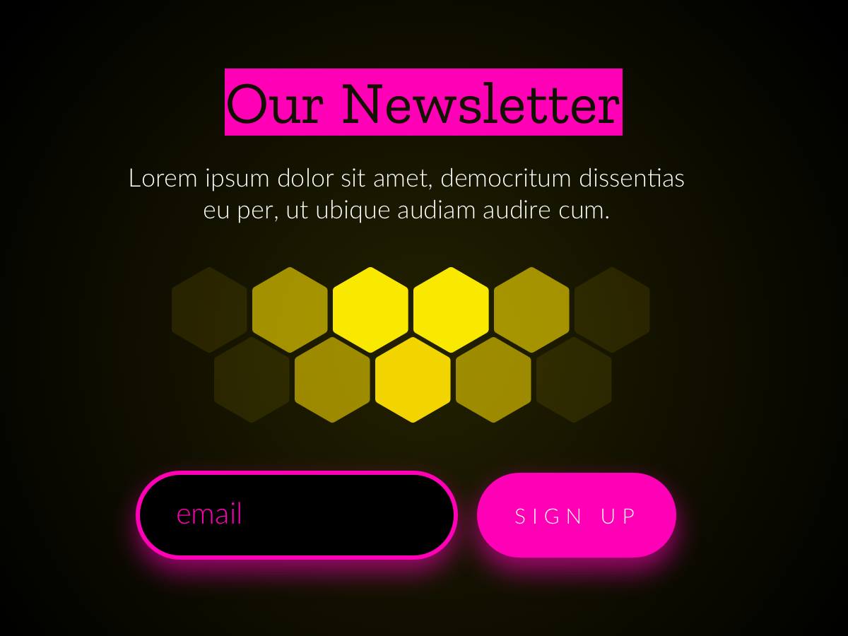 Newsletter Sign Up ui logo gold design newsletters newsletter pink black signup sign up email form yellow honey comb honeycomb honey honey bee neon colors neon pink hot pink