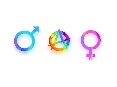 The Three Genders ux yellow green gold branding violet icon ui logo vector amethyst pink illustration design blue purple rainbow icons gender icons gender