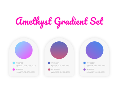 Amethyst Gradient Set colors graphic graphic design gradient ideas gradient set gradient jewel gem typography web icon ux violet ui branding amethyst pink design blue purple