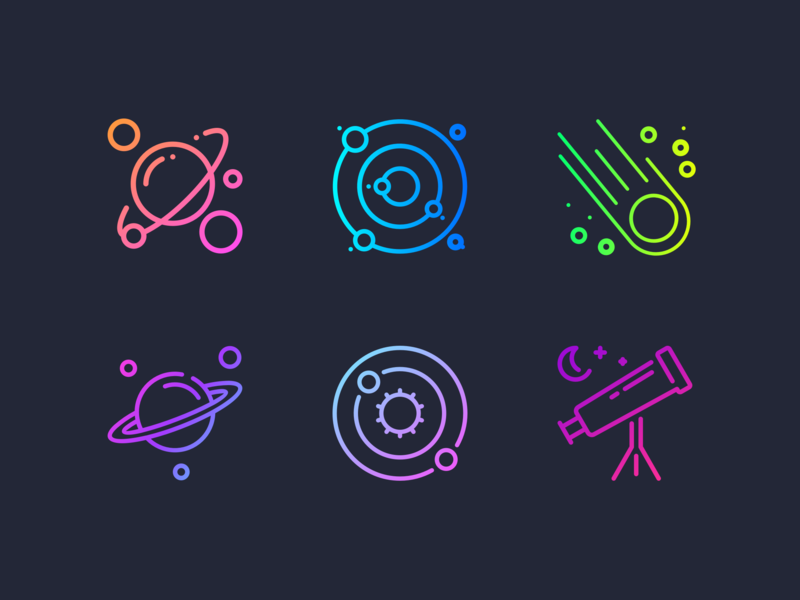 Gradient Space Icon Set freebie vector branding pink purple design blue crescent moon orbits orbit gradients gradient telescope solar system moon planets planet stars star space