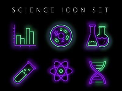 Science Icon Set freebie branding illustration atomic atom flask beaker cell chart dna glowing glow neon purple neon green neon neon colors science illustration science icon sets icon set