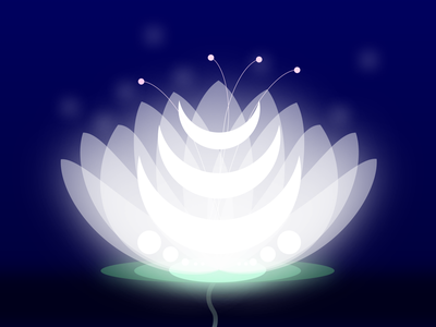 Lunar Lotus crescent moon crescent moonlight petals illustration vector radiance radiant glow lilypad lily pad lily night time white luna moon flower night lotus lunar
