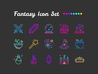 Fantasy Icon Set crown castle freebie free magical witchy magic wand potion sword swords crystals magic crystal ball icon sets iconsets iconset icons icon set fantasy rainbow