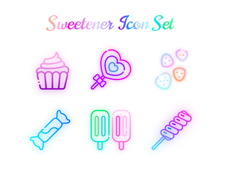 Candy Land Icon Set colorful rainbow pastels pastel glowy glow iconography freebies freebie icon set icon sets iconset icons icon gum drops ice cream lolipop cupcake sketch candy