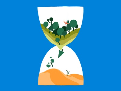 we're running out of time global warming sand ilustración desert forest climate change illustration