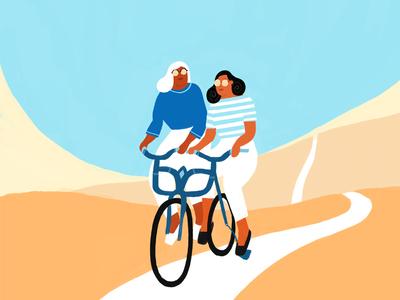 In Pairs closeness partnership women tandem illustration