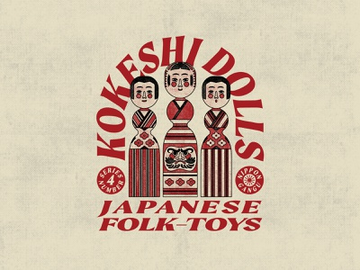Kokeshi Dolls japan mascot logos illustraion character branding layout typography