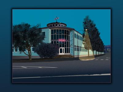 Sinclair building illustration photoshop digital art blue urban architecture design illustration