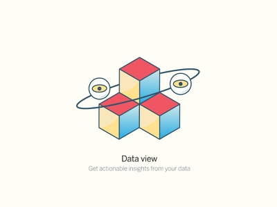 Data View insights stack blocks cubes data global eye squares section