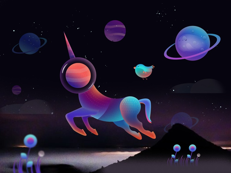 unicorn stars sky night planet unicorn illustration