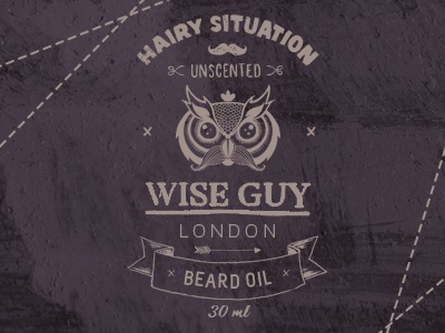 Wise Guy London typography packaging label cosmetic owl wise barber