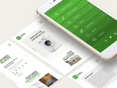 A-Z Review modern layout review menu ui ux mobile website