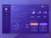 Merchants system home dashboard page