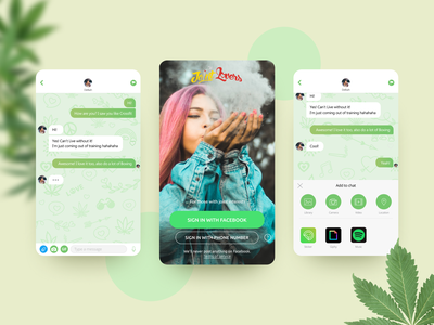 JointLovers Chat - CrushMobile jointlovers lovers cannabis marihuana joints ui design chat app dating app dating chat design ui