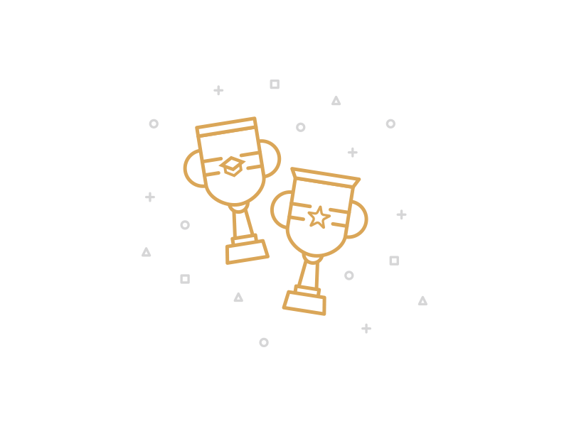 Trophies vector icon line gold gray women security trophy