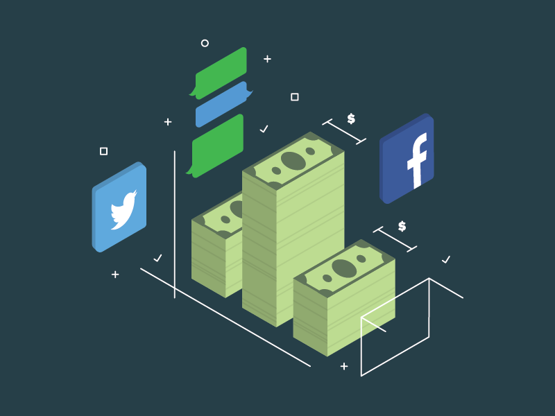 Isometric Illustration Test vector dazzle razzle twitter facebook money isometric