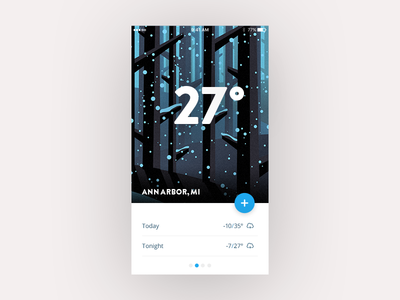 Weather App Experiment trees ai psd winter snow app weather ui daily