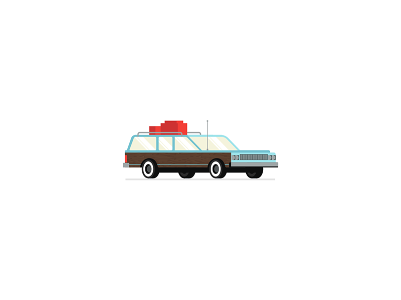 Little Car roadtrip trip road woodgrain red blue brown vector illustration car