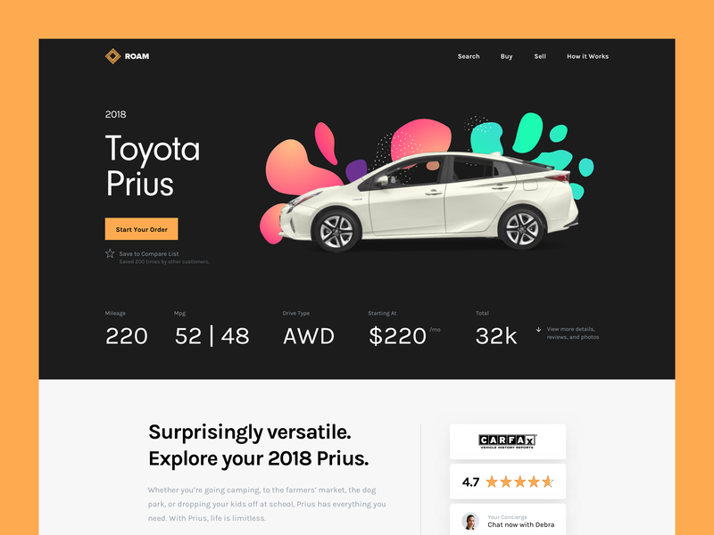 Car Buying Online ui prius neuzeit grotesk karla yellow black
