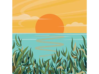 Sunrise illustration. vector nature digitalart art illustration sunrise