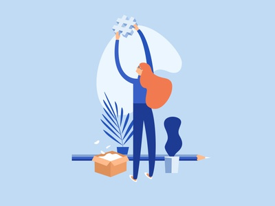 Office scene fragment female character website office vector concept graphic character girl minimalism flat design illustration