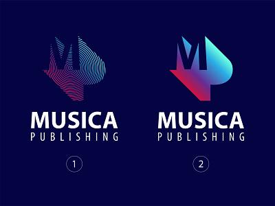 Musica Publishing Inc. (1 - 2) trademark music logo musician music art music monogram modern logo modern design mark major los angeles logodesign logo lettermark gradient logo gradient design gradient colors branding brand