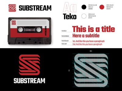 Substream Logo Manual logo mockup lettermarklogo lettermark logo grid letter s logo letter s record label music brand guideline brand guide logo guidelines logo guide brand manual mark logo manual vector logos branding logodesign logo