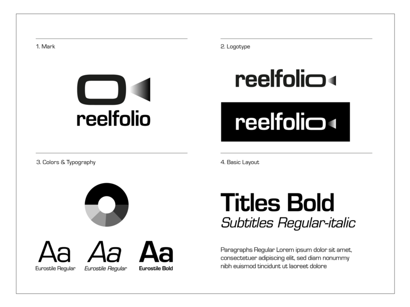 Reelfolio Basic guideline type typogaphy brand manual branding logotype design logotypedesign color palette layout graphic guidebook guidelines guideline logo guide logo designer logo mark logo design logodesign logotype logos logo