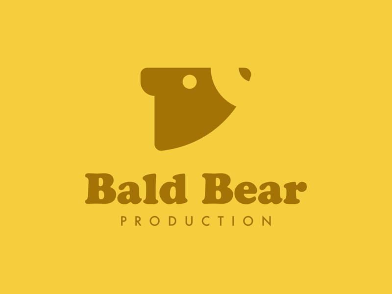 Bald Bear Prod. minimal logo minimal logo mark symbol mark making mark yellow logo vintage font vintage logo bear logo bear animal logos animal logo animal symbol marks logos branding graphicdesign logodesign logo