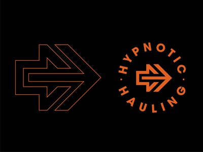 Hypnotic Hauling 2.0 logomark trade mark branding chicago mark symbol driver semitruck truck black orange orange logo trademark logo design logodesign arrow logo arrows arrow logo symbol mark