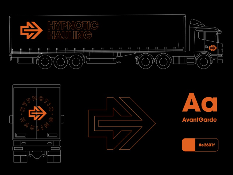 Hypnotic Hauling Truck Custom visual identity arrow logo arrow truck logo orange orange logo corporate design corporate identity guidelines typography custom trucks truck brand identity identity designer identity branding identitydesign branding and identity branding design branding