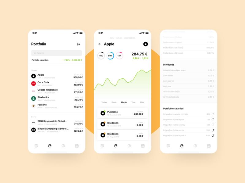 Personal Finance App – Portfolio personal finance cards chart financial table statistics earnings dividends stock data portfolio finance app