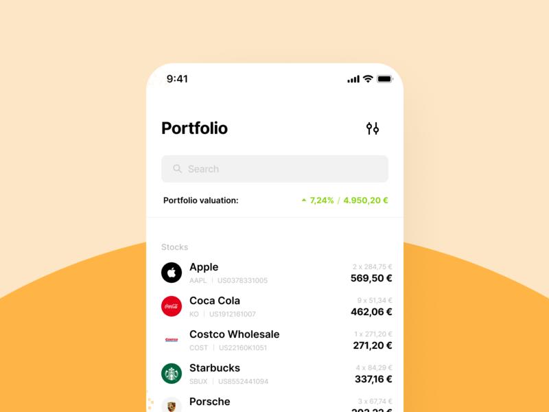 Personal Finance App – Portfolio Overview statistics market depository data companies stocks finance financial finance portfolio ui application app