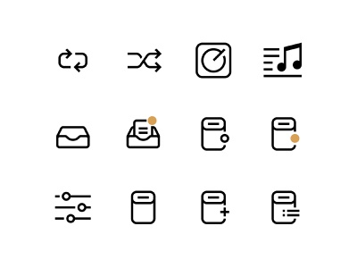 Line Icons for Sonos Controller Project rounded sonos music player icon set set simple ui icon line icons
