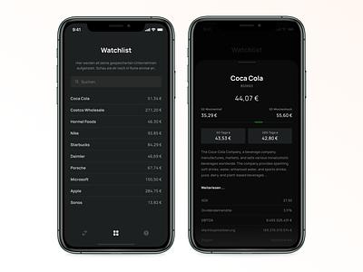 stockr – Tinder for Stocks – Watchlist watchlist list prices darkmode finance stocks finance app app mobile fintech