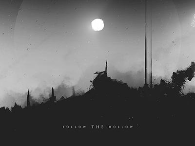 Follow The Hollow - Digital Artwork dark stars dust sky distorted sun black and white monochrome landscape