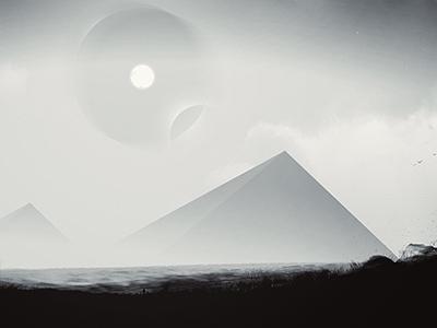 Ancient Messages - Digital Artwork landscape monochrome black and white sun distorted sky dust pyramids stars dark