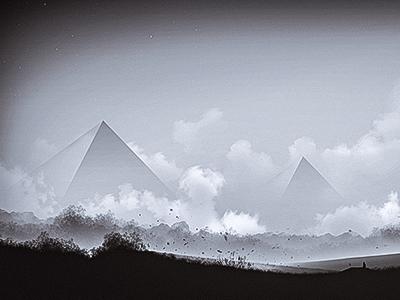Silenced Gods - Digital Artwork dark stars pyramids dust sky distorted sun black and white monochrome landscape