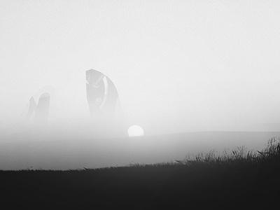 Uncharted Memories - Digital Artwork landscape monochrome black and white sun distorted sky dust stars dark