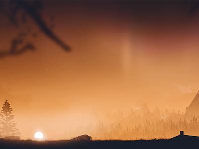Beautiful Desolation - Digital Artwork orange foreground background aurora stars artwork landscape sun sky forest