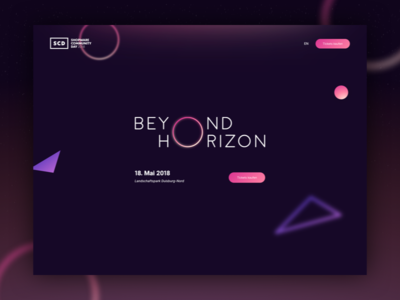 Shopware Community Day 2018 - Beyond Horizon horizon parallax darkmode dark trends shopware community day shopware landingpage shapes gradients community webdesign